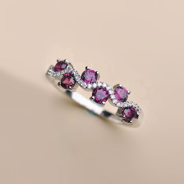 2016 New Graceful Natural Purple Garnet Half Eternity Promise Ring [100719] - $93.00 : jewelsin.com
