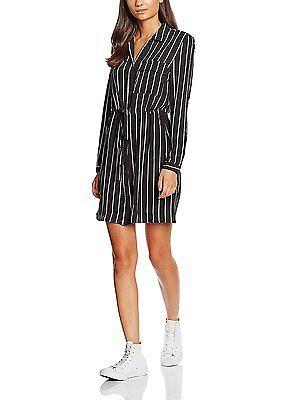12, Black (Black Patterned), New Look Women's Stripe Utility Shirt Dress NEW