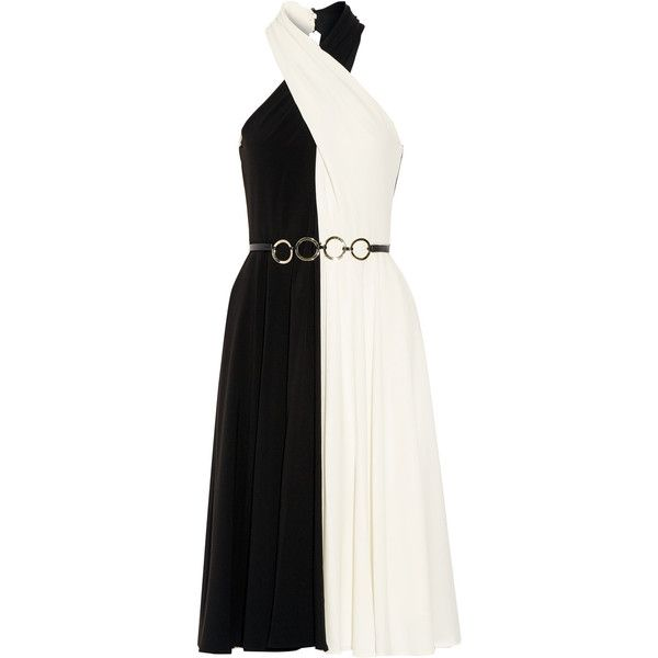 Halston Heritage - Belted Two-tone Crepe Dress (525 BRL) ❤ liked on Polyvore featuring dresses, gowns, black, colorful gowns, sequin gown, halston heritage gown, colorful dresses and ruched gown