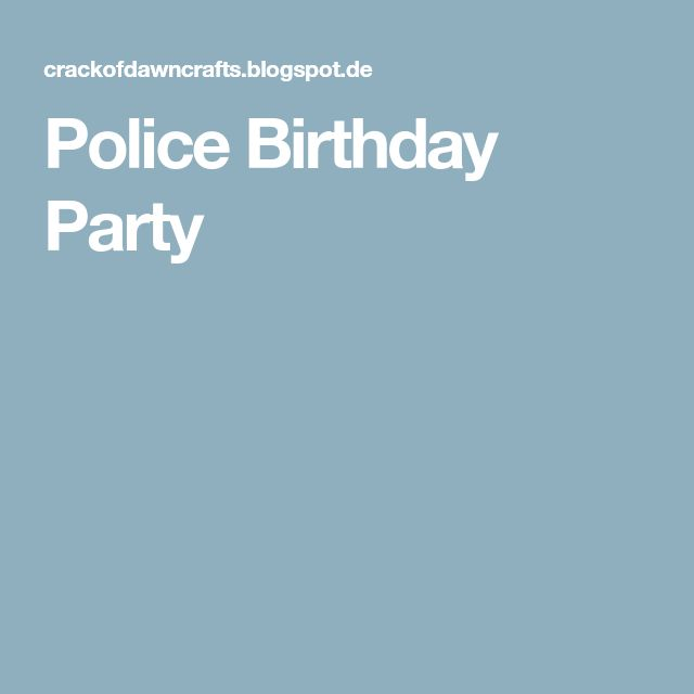 Police Birthday Party