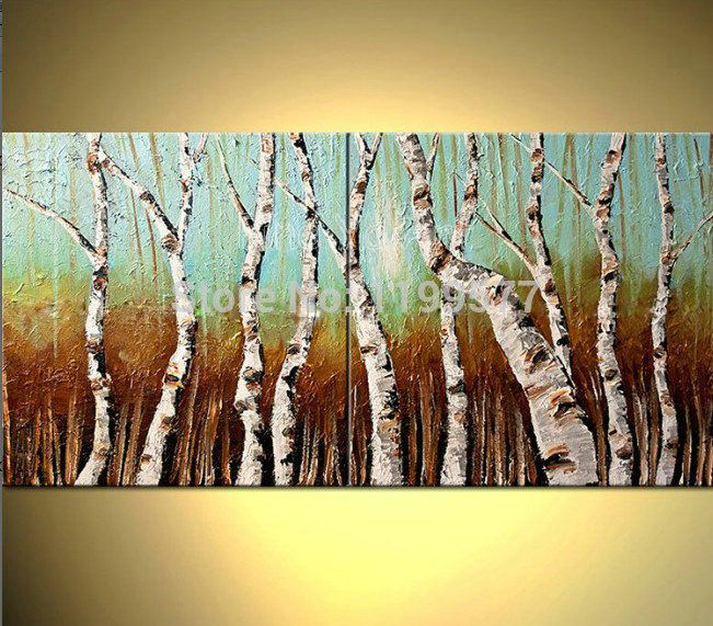 2 panel abstract modern canvas art famous handmade decorative tree sculpture oil painting canvas for living room office(China (Mainland))