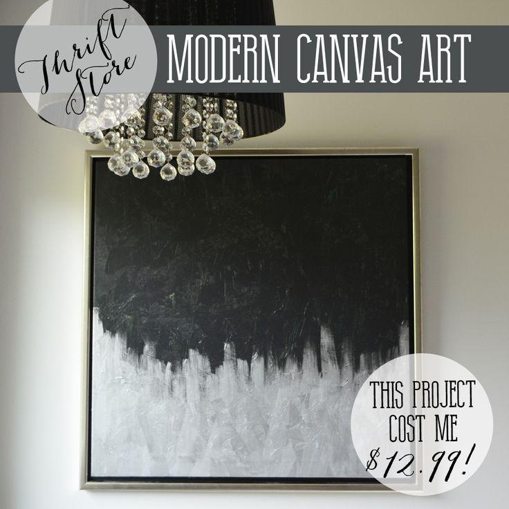 make modern artwork from thrift store canvas art the diy mommy