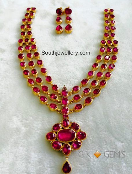 Three Step Ruby Necklace Set photo