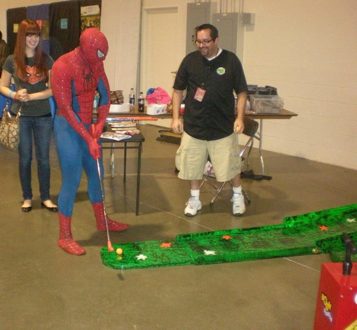 Check out Spider-man playing one of our portable mini golf holes at The MotorCity ComicCon on May 22, 2012