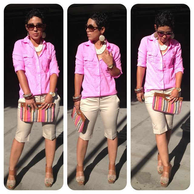 mimi g.: Neon Boyfriend Shirt & Bermuda Shorts + Make The Look