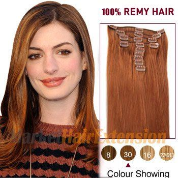 """18"""" Light Auburn (#30) 7pcs Clip In Indian Remy Hair Extensions"""