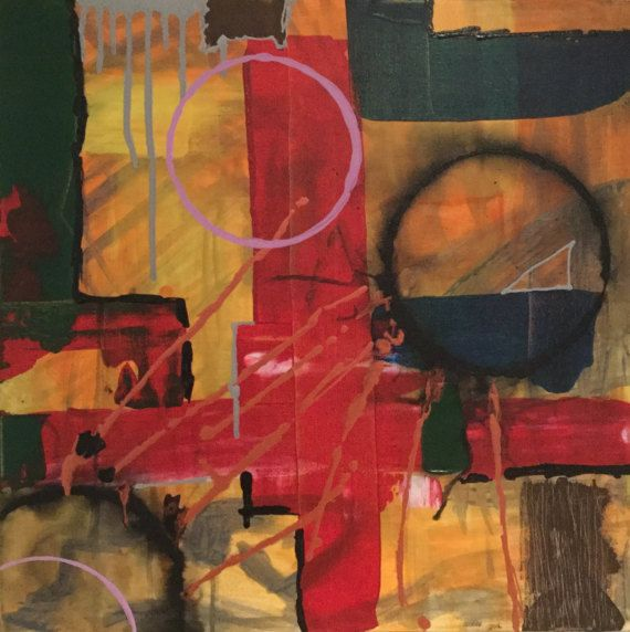 RedCross. Abstract painting canvas modern acrylic painting