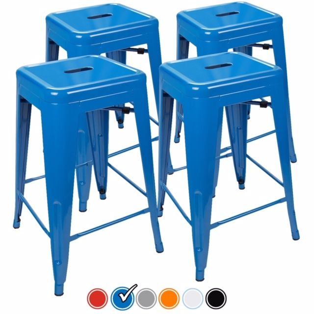 Urbanmod 24 Inch Bar Stools For Kitchen Counter Height Indoor Outdoor Metal Set Of 4 Blue Bar Stools Kitchen Bar Stools Indoor Outdoor Kitchen