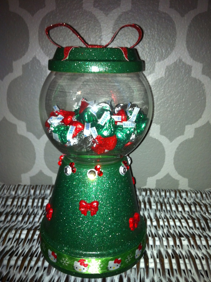 Christmas Green Hello Kitty gumball candy dish clay pot