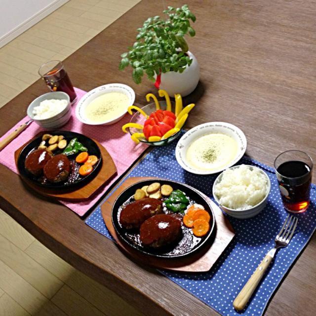 ジューシーっす!やっぱ鉄板焼きはGoodっす! o(≧▽≦)o - 24件のもぐもぐ - 鉄板焼きハンバーグ&焼野菜、パプリカ&トマト、ポテトポタージュ by pentarou