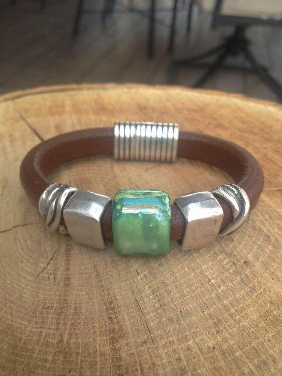 Regaliz Silver Bracelet Teal Lime and Silver on Brown Leather via Etsy