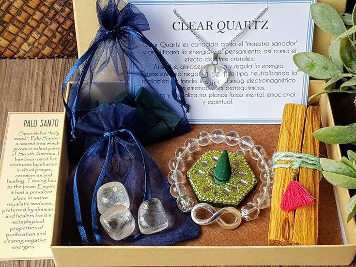 Energía del cristal de cuarzo, regalo para desear salud y buena suerte, kit de limpieza de energía, caja de regalo espiritual para meditar – Gift Sets