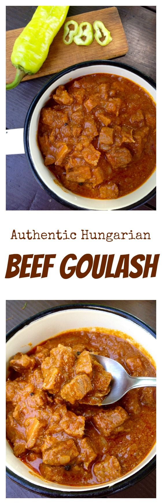 Hungarian beef goulash is a thick and hearty meat stew, served with nokedli noodles (spaetzle) and pickles. Click for the recipe.