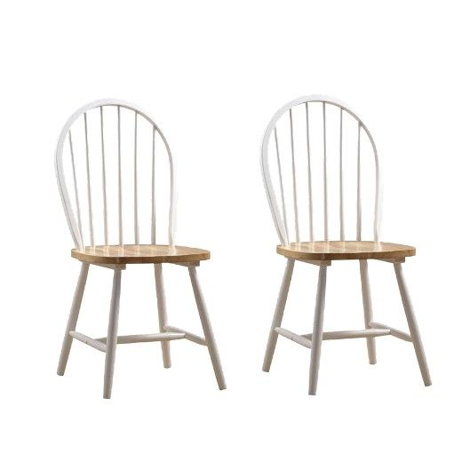 Windsor Dining Chair Wood/White/Natural (Set of 2) - Boraam : Target