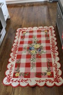 http://the2seasons.com  Floral and Gingham rug... Sweet!