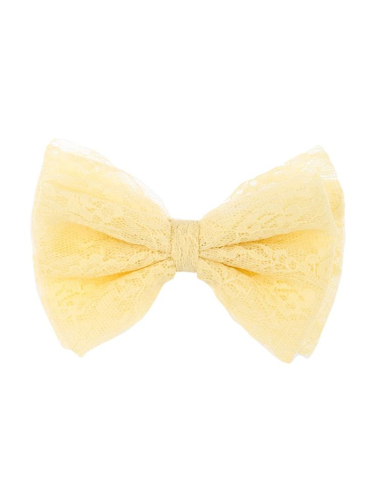 Give any everyday look a pretty finsihing touch with this women's large cream bow hair clip, featuring a lace trim bow.