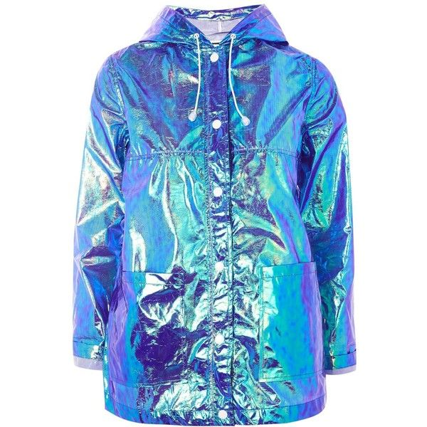 Topshop Petite Paper Metallic Raincoat (€43) ❤ liked on Polyvore featuring outerwear, coats, jackets, topshop, purple, petite coats, hooded raincoat, petite rain coat, blue raincoat and waterproof raincoat