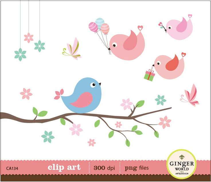 Flying Birds with Gift Ballon clip art birds on by GingerWorld