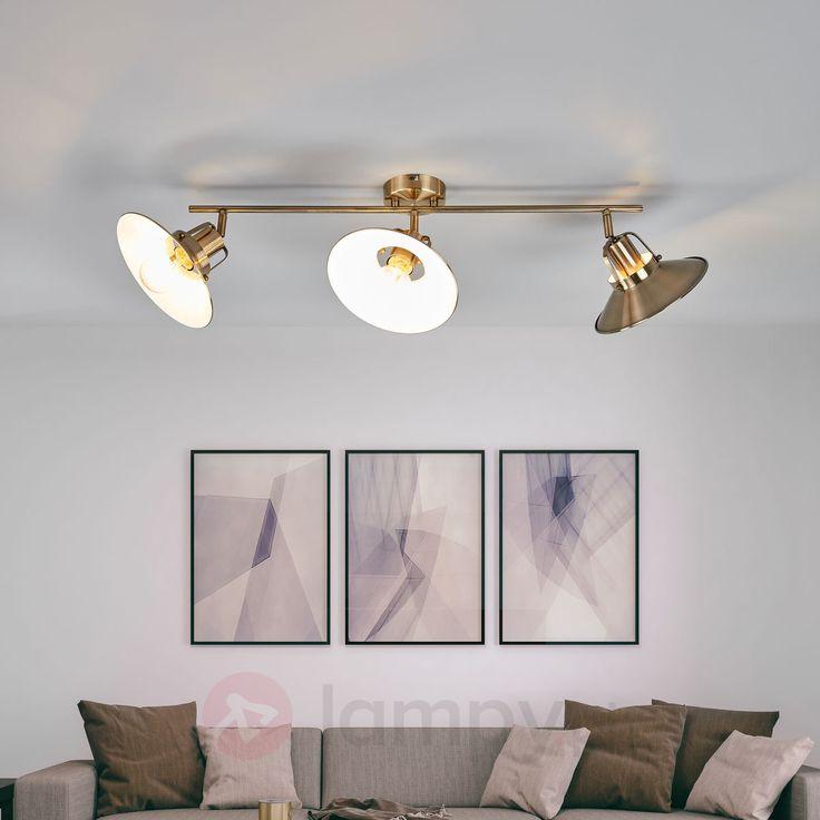 Podłużna lampa sufit. Arkadia, postarzany mosiądz | Lamyp.pl