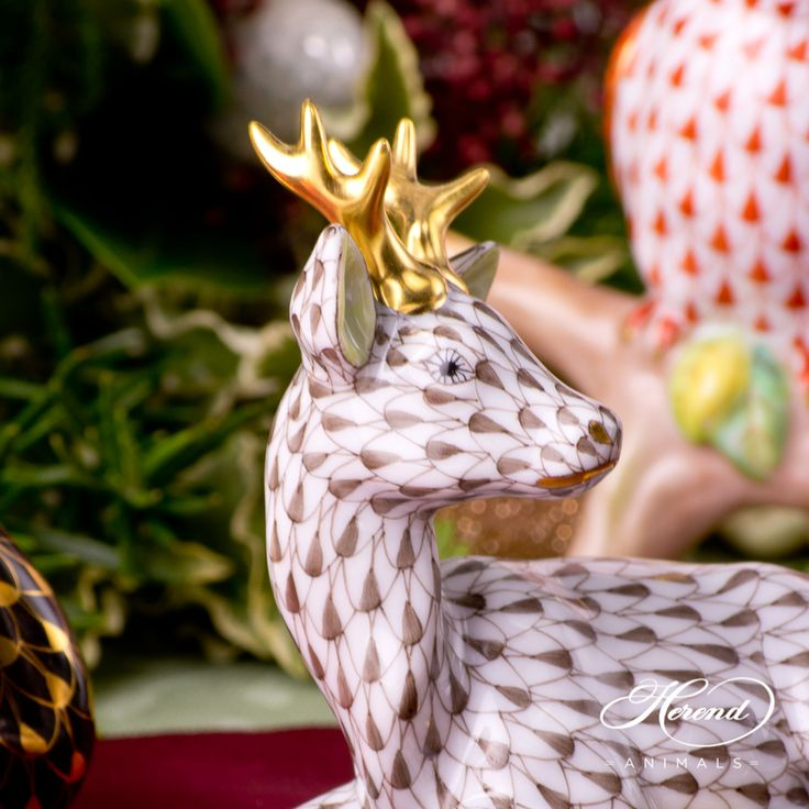 #Roe #Buck with VH paint and Gold - Herend #handpainted figurines.