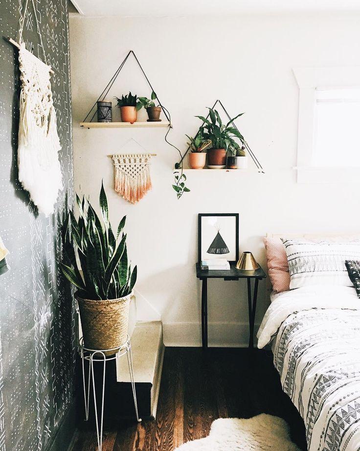 simple floating shelves and plants plants bohohome rh pinterest com