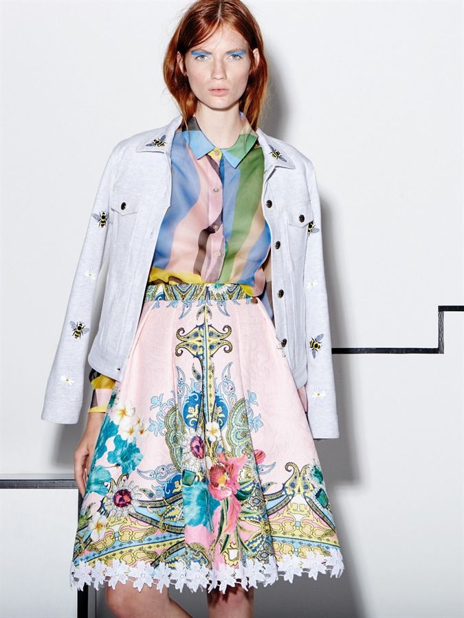 "Dress to impress! Model wears Naughty Dog SS16 silk ""Rainbow"" shirt, ""daisies & bees"" jeans jacket and ""Hawaii"" printed skirt!"