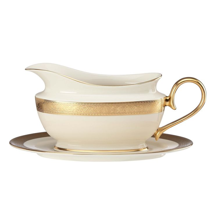 Lenox Westchester Sauce Boat and Stand, Gold (Bone China, Banded)