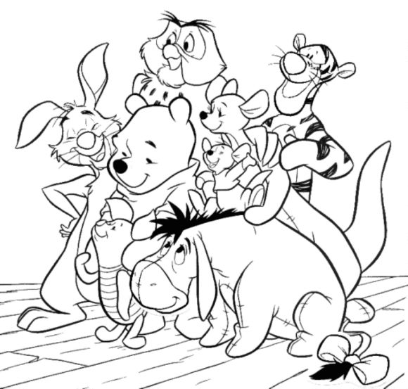 Cartoon Coloring, : friends and winnie the pooh coloring pages