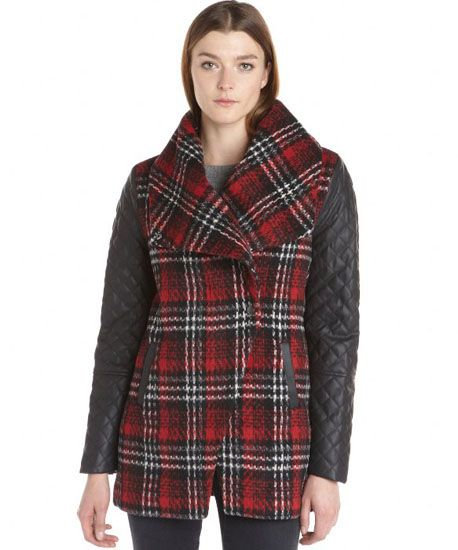 Style Stealer: Plaid Wool Coat With Leather Sleeves