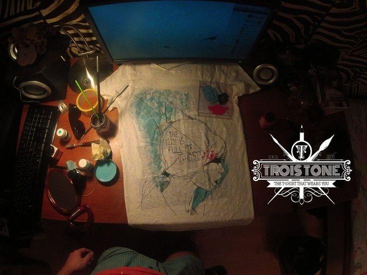 #troistone #tshirt #handmade #tricou #makingof #process