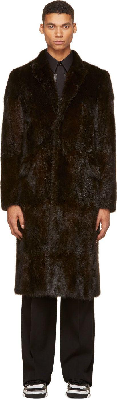 Givenchy: Dark Brown Musquash Fur Long Overcoat