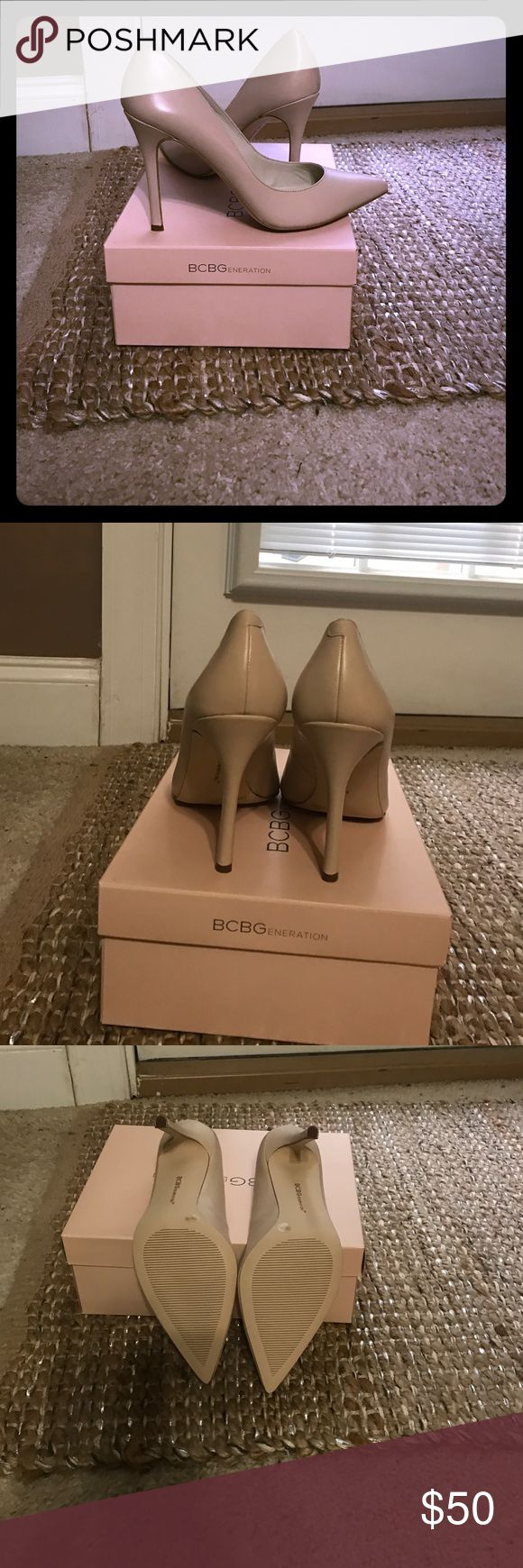 Nude BCBGeneration pumps. Size 8.5, 4 inch heel. New in box BCBGeneration Stiletto pumps. Size 8.5, 4 inch heels. Pair with anything to elongate the legs! BCBGeneration Shoes Heels