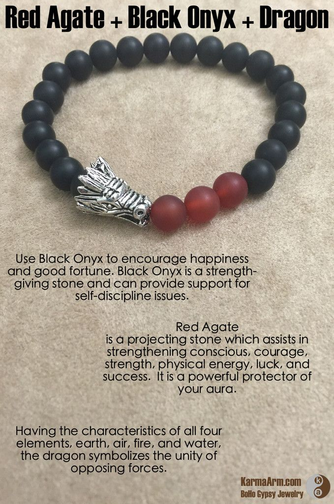 Use Black Onyx to encourage happiness and good fortune. Black Onyx is a strength-giving stone and can provide support for self-discipline issues. Because it helps to hold physical memories, Black Onyx can be useful in healing old wounds or past life issues. SUCCESS: Black Onyx + Red Agate Yoga Mala Bead Bracelet