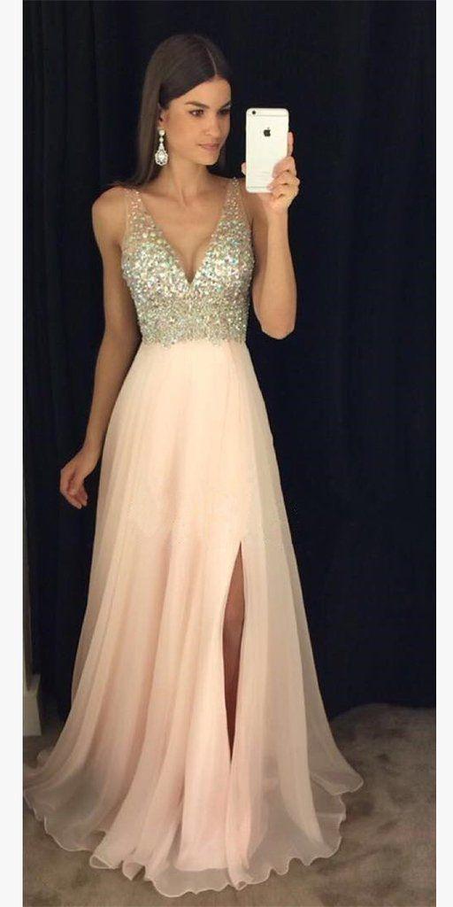 Sparkly Beaded Long V-Neck Prom Dress Fashion Long Side Slit School Dance Dresses Custom Made Long Chiffon Beadings Evening Dress SPD349