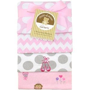 Child of Mine by Carter's Ballerina Monkey 4-Pack Flannel Receiving Blankets - GIRL - $9.97 AVAILABLE ONLINE AND IN STORES AT WALMART