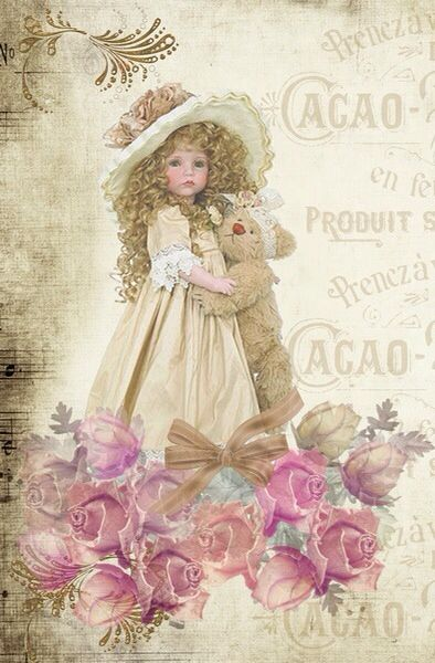 Applique Fabric Quilt Block *Little French Girl with Teddy Bear* Collage 14-0048 More