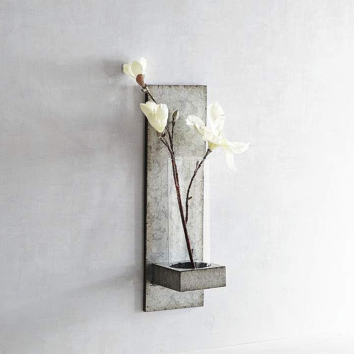 Pier 1 Imports Magnolia Home Galvanized Hanging Vase Sconce Metal And Glass Wall Flower Sconce Vase Sconce Hanging Vases Magnolia Homes Candle Wall Sconces