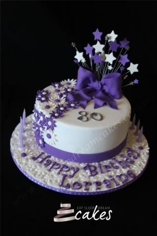 80th Birthday Cake Purple and White with Daisys - Eat Sleep Dream Cakes