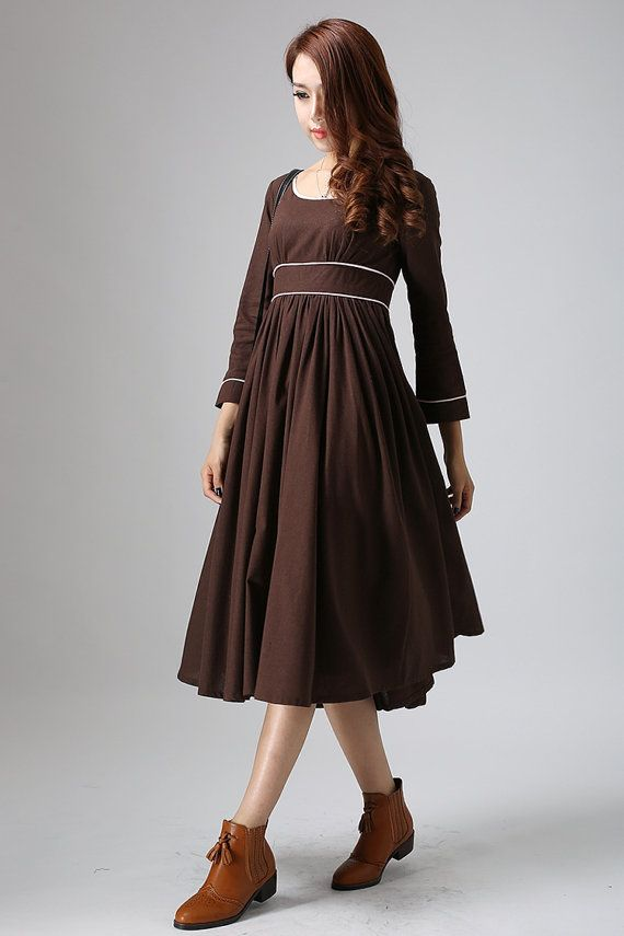 elegant maxi dress - chocolate brown linen dress with high wasit and contrasting piping, empire waist dress - feminine dress  (808)