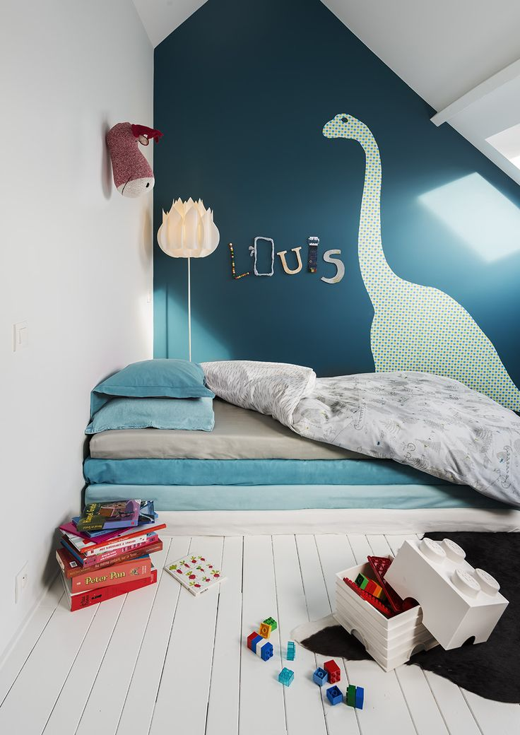 Kid Room. Bedroom. Dinosaur. Statement Wall. Art. Painting. Children. Fun. Decor. Design. Home.