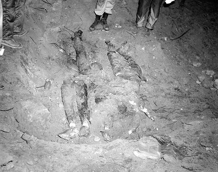 The buried bodies of Civil Righs Activist Schwerner, Chaney and Goodman Credit: FBI