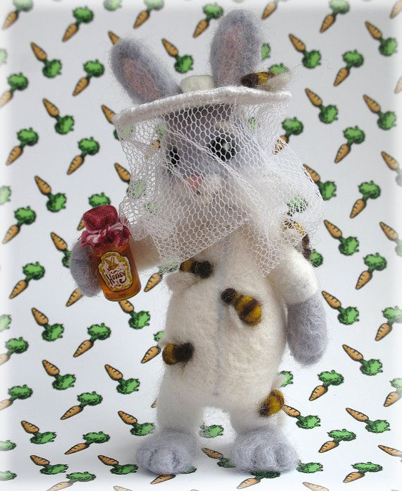 Needle Felted Bunny Rabbit Bee Keeper Honey Bunny by Mythillogical, £70.00