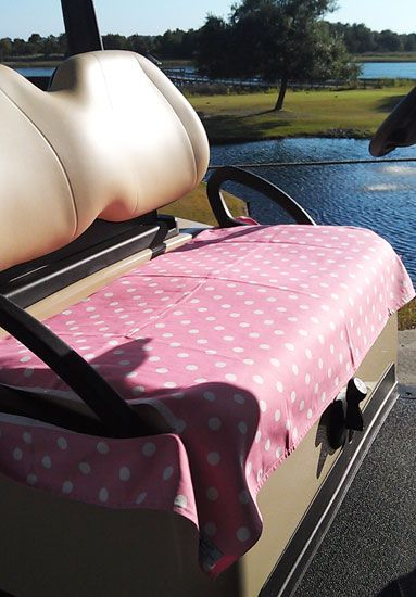 Find the best #golf accessories at #lorisgolfshoppe : Pink & White Polka Dots Golf Cart Seat Cover