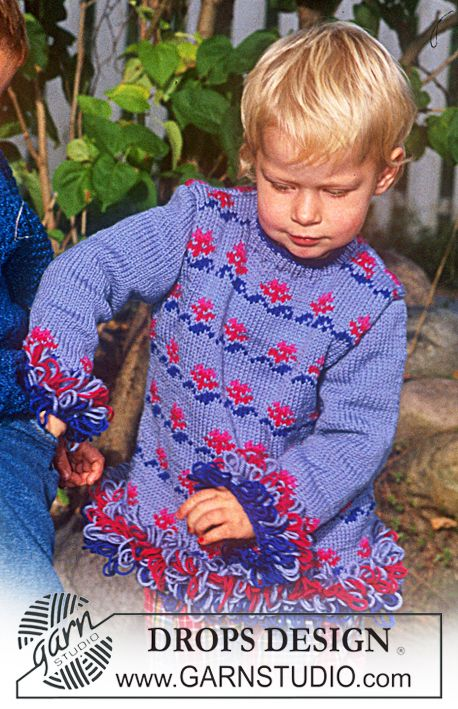 Jersey in Karisma Superwash with flower borders and loop stitches ~ DROPS Design  I would do a picot sleeve and hem.