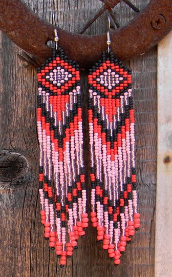 Long Native American Style Seed Bead Earrings in by Anabel27shop, $17.00