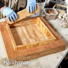 Photo 1: Assemble the mold, reusable stepping stone mold.