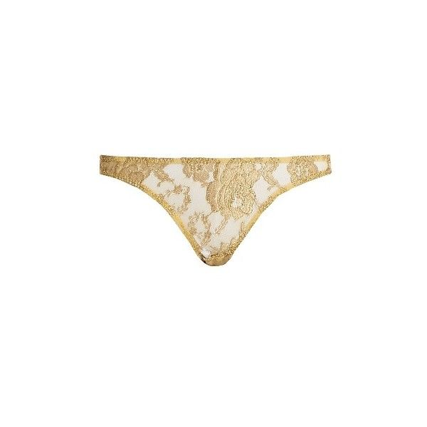 Coco De Mer Gaia Peek-a-Boo lace briefs ($130) ❤ liked on Polyvore featuring intimates, panties, lingerie and gold