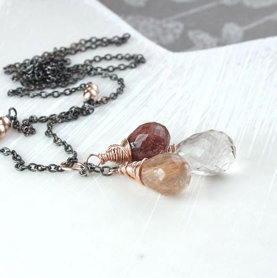 Golden Rutilated Quartz Necklace  Mixed Metal  Silver And Gold