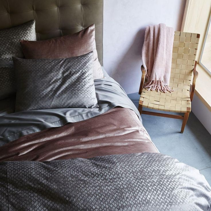 Washed Cotton Luster Velvet Quilt Cover + Pillowcases - Dusty Blush | west elm AU