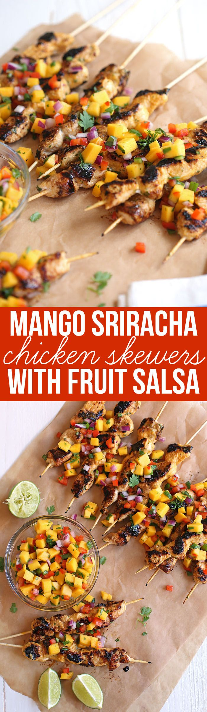 This recipe for Mango Sriracha Chicken Skewers are deliciously healthy and the perfect balance of sweet/spicy topped with a colorful mango salsa! www.eat-yourself-skinny.com